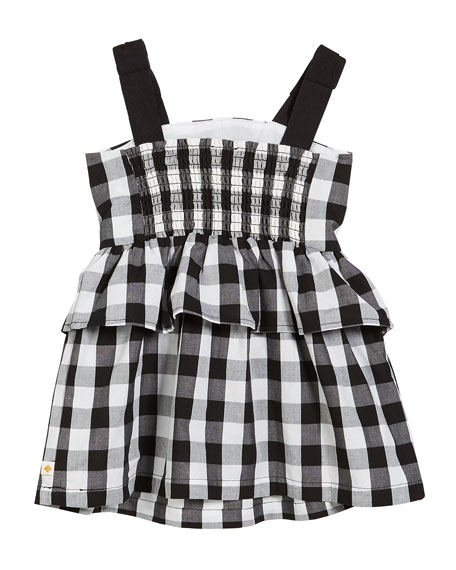 gingham sleeveless sun dress, size 2-6x