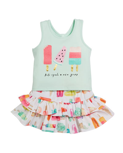 summer treat tank & skirt set, size 12-24 months