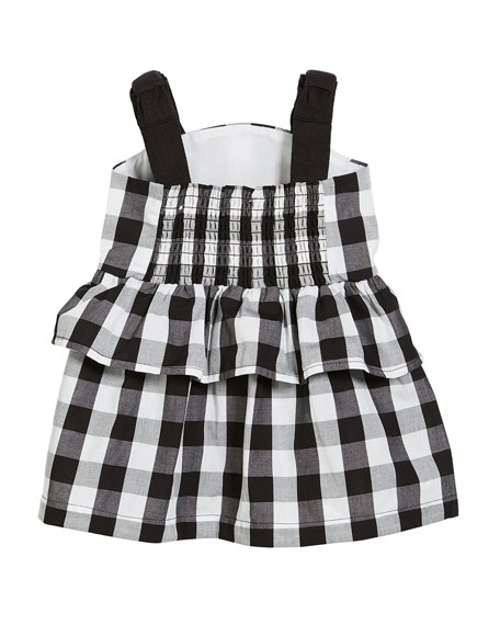 gingham sleeveless sun dress w/ bloomers, size 12-24 months