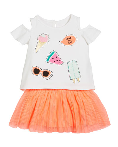 so cool cold-should tee w/ tulle skirt, size 12-24 months