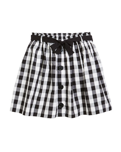 a-line gingham cotton skirt, size 7-14