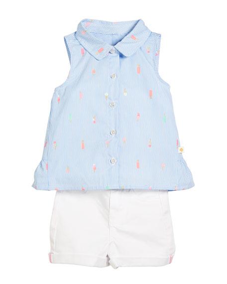 mini ice pops sleeveless blouse w/ twill shorts, size 2-6x