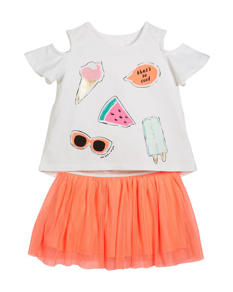so cool cold-should tee w/ tulle skirt, size 2-6x
