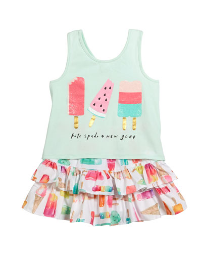 summer treat tank & skirt set, size 2-6x