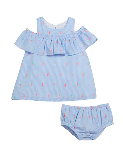 striped mini ice pops cold-shoulder dress w/ bloomers, size 12-24 months