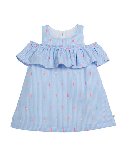striped mini ice pops cold-shoulder dress, size 2-6x