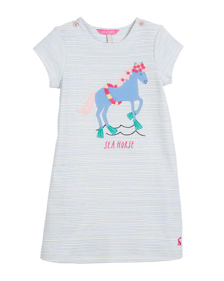 Striped Sea Horse Short-Sleeve Dress, Size 3-6