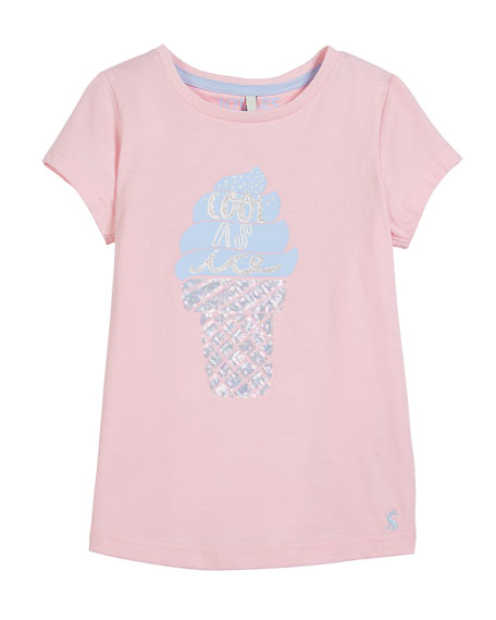 Joules Sequin Ice Cream T-Shirt, Size 3-10