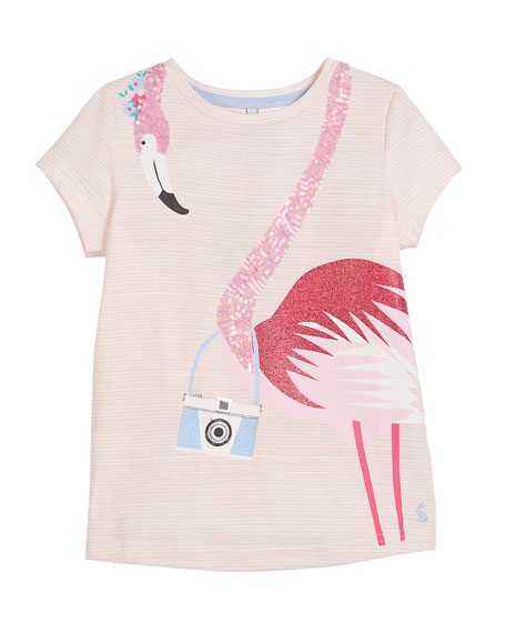 Striped Sequin Flamingo Short-Sleeve Tee, Size 3-10