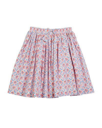Coral-Print Cotton Skirt, Size 3-10