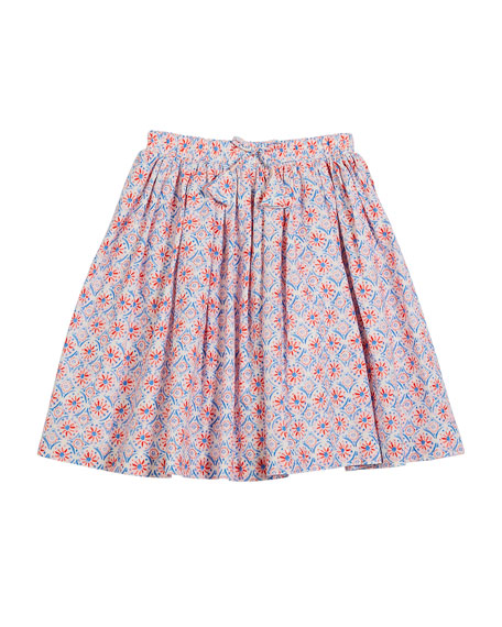 Myla Coral-Print Cotton Skirt, Size 3-10