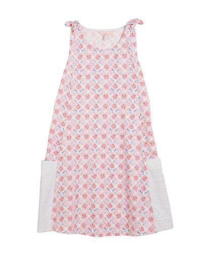 Madeline Coral-Print Sleeveless Cotton Dress, Size 3-10