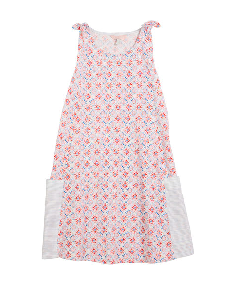 Madeline Coral-Print Sleeveless Cotton Dress, Size 3-10