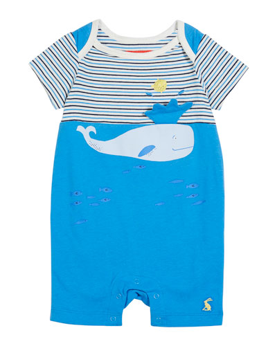 Whale Striped & Solid Shortall, Size 0-12 Months