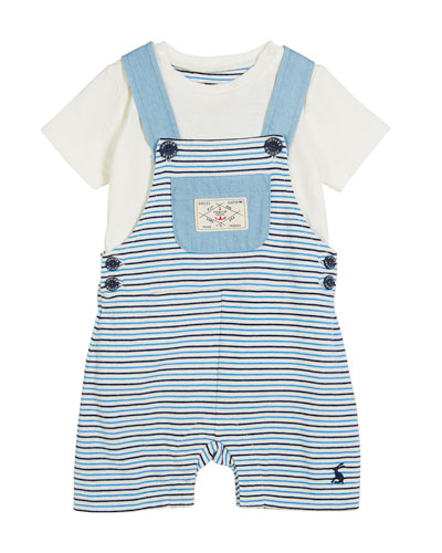Striped Overall w/ Solid Top, Size 3-24 Months