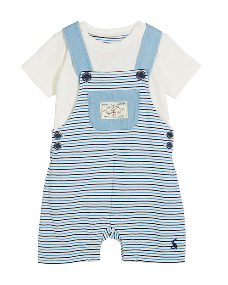 Joules Striped Overall w/ Solid Top, Size 3-24