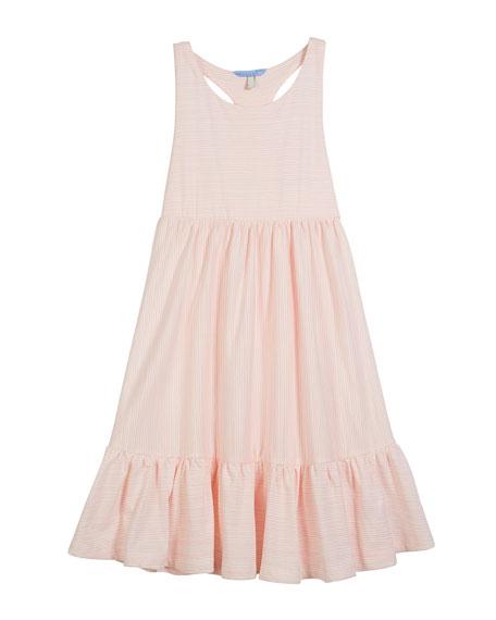 Striped Racerback Shirred Dress, Size 3-10