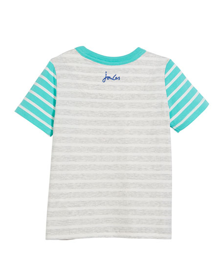 Two-Tone Striped Shark Pocket Tee, Size 3-6