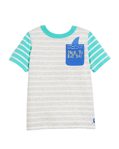 Two-Tone Striped Shark Pocket Tee, Size 3-6