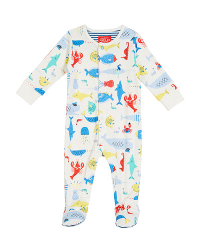 Sea Creature Printed Footie Pajamas, Size 0-9 Months