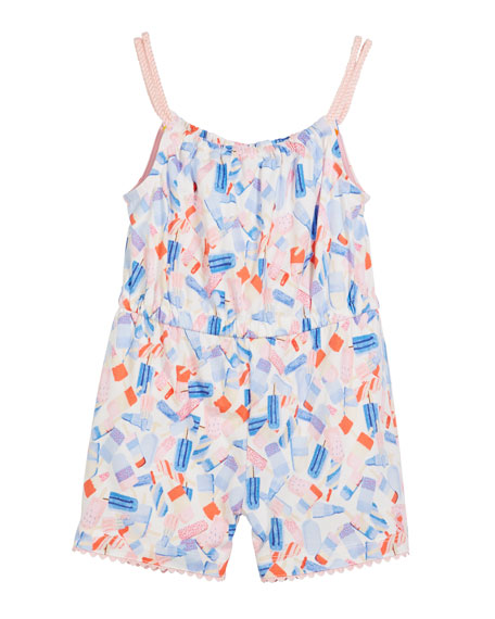 Popsicle-Print Sleeveless Romper, Size 3-6