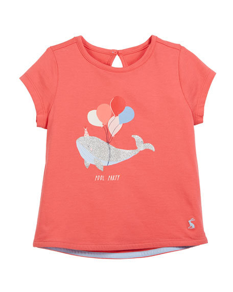 Joules Whale Party Short-Sleeve Tee, Size 3-6