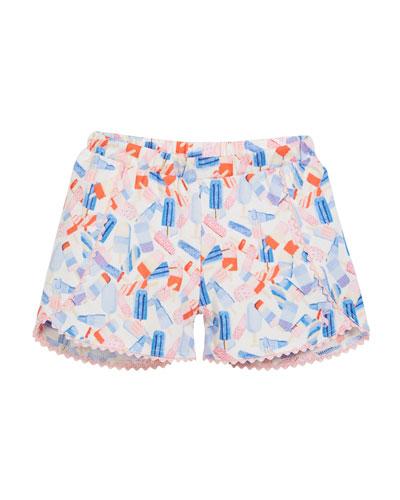Popsicle-Print Cotton Shorts, Size 3-6