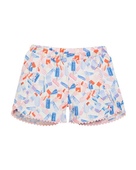 Popsicle-Print Cotton Shorts, Size 3-6
