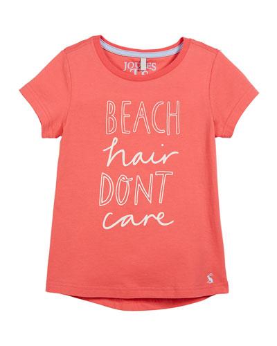 Beach Hair Don't Care Short-Sleeve Tee, Size 3-10