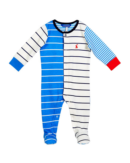 Joules Multi-Stripe Cotton Footie Pajamas, Size 0-9 Months
