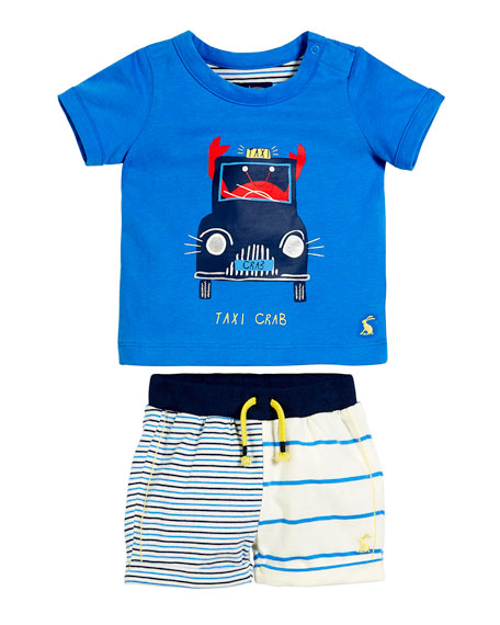 Joules Short-Sleeve Taxi Crab T-Shirt w/ Striped Shorts,