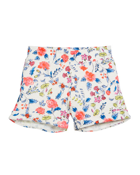 Floral Cotton Beach Shorts, Size 3-10