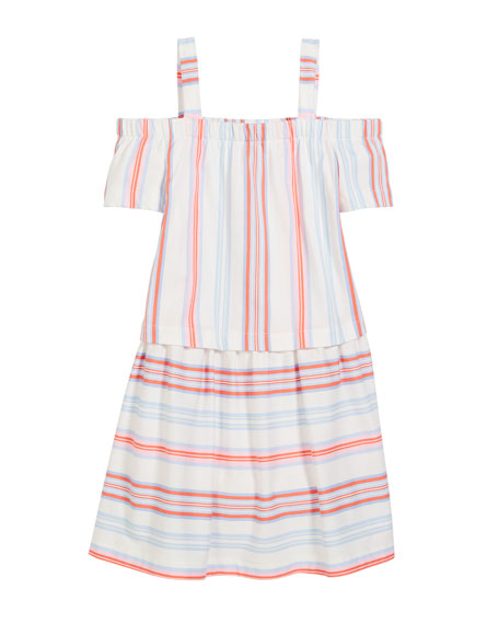 Off-the-Shoulder Multi-Stripe Cotton Dress, Size 3-10