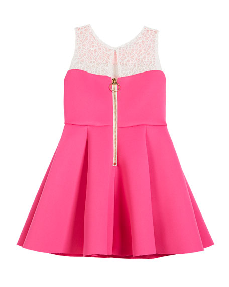 Colorblock 8-Panel Lace-Inset Swing Dress, Size 7-16
