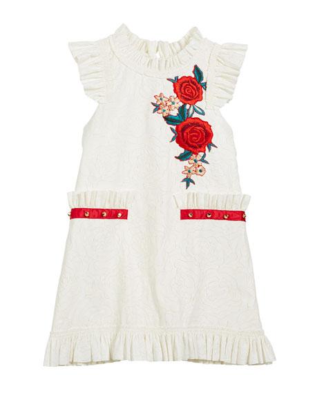 Ruffle-Edge Faux-Leather Burnout Floral Dress, Size 7-16