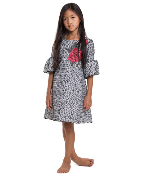 Embroidered Organza Bell-Sleeve Dress, Size 7-16