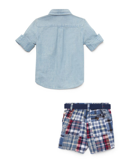 Chambray Shirt w/ Patchwork Shorts, Size 9-24 Months