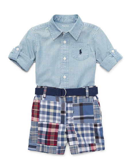 Ralph Lauren Childrenswear Chambray Shirt w/ Patchwork Shorts,