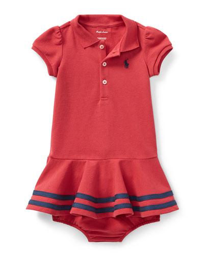 Short-Sleeve Striped-Hem Knit Polo Dress, Size 9-24 Months