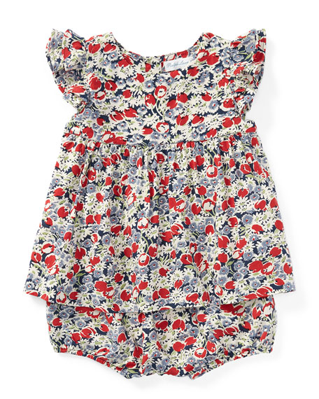 Floral Ruffle-Sleeve Top w/ Matching Bloomers, Size 9-24 Months