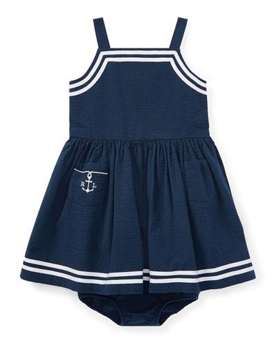 Seersucker Woven Sleeveless Dress w/ Bloomers, Size 9-24 Months