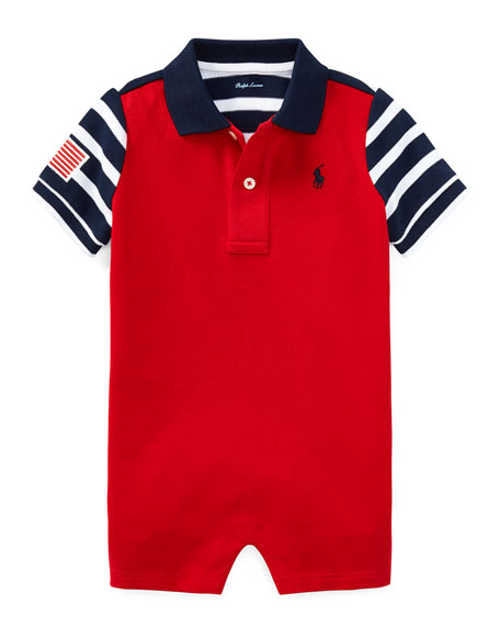 Ralph Lauren Childrenswear Colorblock American Flag Shortall,