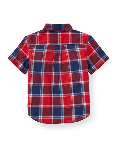 Short-Sleeve Collared Plaid Shirt, Size 9-24 Months