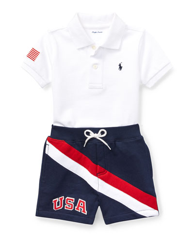 USA Short-Sleeve Polo w/ Matching Shorts, Size 9-24 Months
