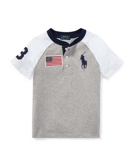 Short-Sleeve Logo Henley Tee, Size 2-4