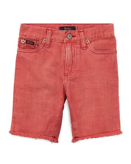 Raw-Hem Denim Shorts, Size 2-4