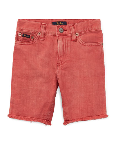 Raw-Hem Denim Shorts, Size 5-7