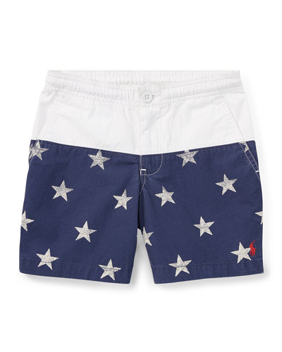Prepster Colorblock Star Shorts, Size 5-7