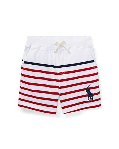 Striped Drawstring Cotton Shorts, Size 5-7