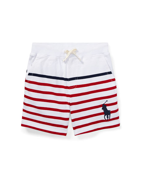 Striped Drawstring Cotton Shorts, Size 5-7